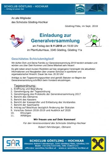 Weiterlesen: Generalversammlung 2018 - Einladung